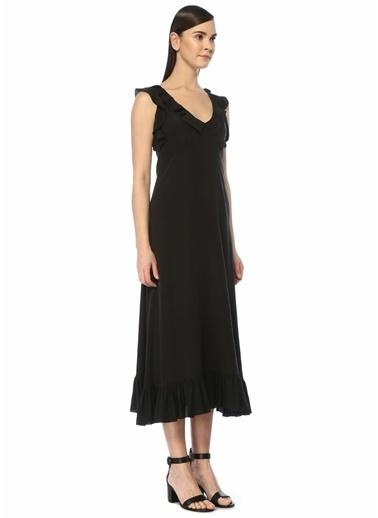 Beymen Collection Beymen Collection  V Yaka Fırfır Detaylı Midi İpek Elbise 101454303 Siyah